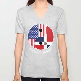 USA Dominican Republic Ying Yang Heritage for Proud Dominican American, Biracial American Roots, Unisex V-Neck