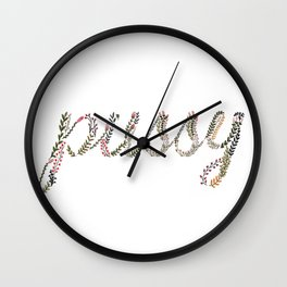 Pussy flower illustration Wall Clock