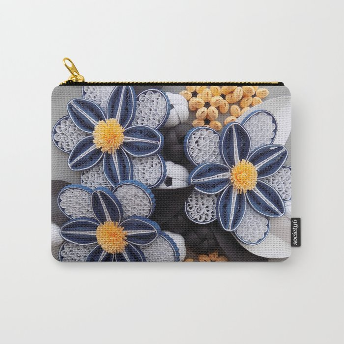 blue paper quilled flowers floral home decoration abstract still nature art carry all pouch
