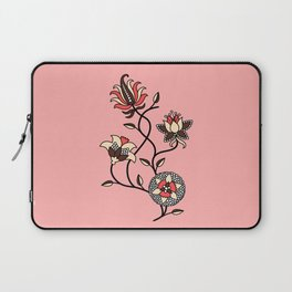 Whimsical illustrated Indian floral pink Laptop Sleeve