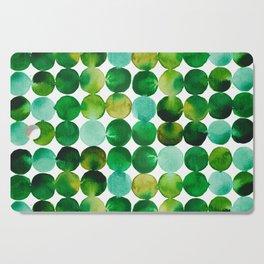 Green Watercolor Circles Pattern Cutting Board