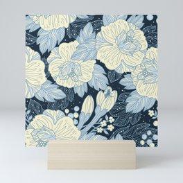 Vintage Black and White Botanical Floral Print Mini Art Print