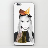 cara delevingne iPhone & iPod Skins featuring CARA DELEVINGNE by Nora Fikse