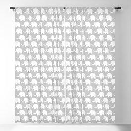 Elephant Parade on Grey Blackout Curtain