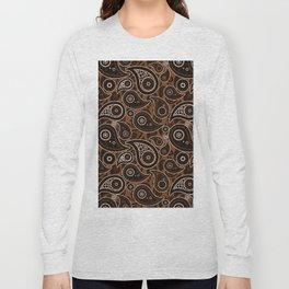 Chocolate Brown Paisley Pattern Long Sleeve T-shirt