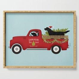 Black lab dog labrador christmas tree farm vintage red truck Serving Tray