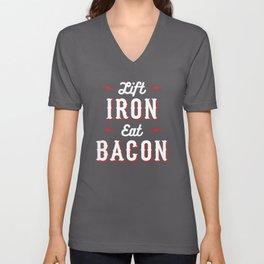 Lift Iron Eat Bacon Unisex V-Neck