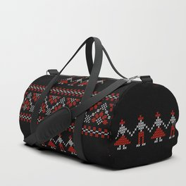 Traditional Romanian white & red cross-stitch people on black Duffle Bag