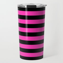 Hot Pink and Black Stripes Travel Mug