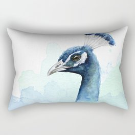 Peacock Watercolor Exotic Bird Animals Rectangular Pillow
