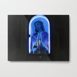 Neon blue electric Jesus in glass enclosed arch outdoor shrine in Sicily at night Metal Print