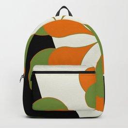 Mid-Century Modern Art 1.4 - Green & Orange Flower Backpack