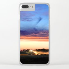 Farmer Working at Dusk Clear iPhone Case