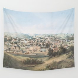 Vintage Pictorial Map of Staunton VA (1857) Wall Tapestry