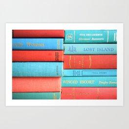 Pink and Aqua Book Stack Art Print