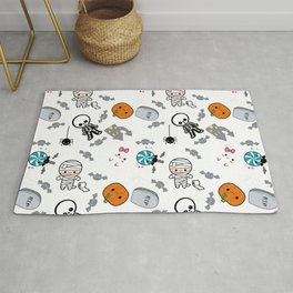 Spoopy Halloween Pattern - Mummy, Ghost, Tombstone Rug