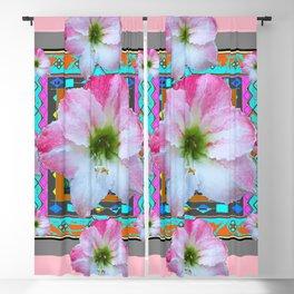 PINK-TURQUOISE  AMARYLLIS WESTERN ART DESIGN Blackout Curtain