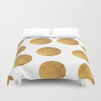 polkadot Duvet Covers featuring GOLD POLKADOT 2 by wlydesign