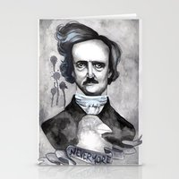 edgar allan poe Stationery Cards featuring Edgar Allan Poe by JsuauG