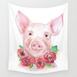 Piglet with Flowers 3 Watercolor Wall Tapestry