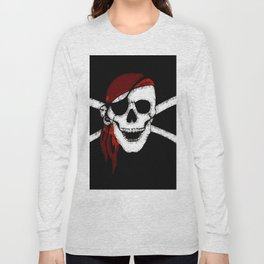 Creepy Pirate Skull and Crossbones Long Sleeve T-shirt