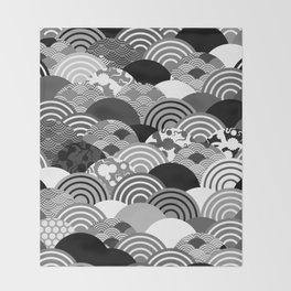 Nature background with japanese sakura flower, Cherry, wave circle Black gray white colors Throw Blanket