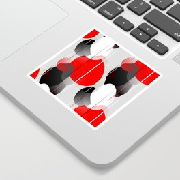 Modern Anxiety Abstract - Red, Black, Gray Sticker