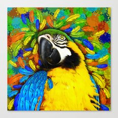 Gold and Blue Macaw Parrot Fantasy Canvas Print