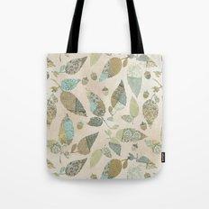 Nostalgic Patchwork Autumn Leaf Pattern Teal Beige Tote Bag