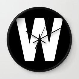 Letter W (White & Black) Wall Clock