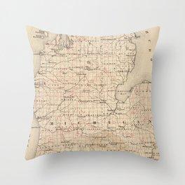 Vintage Map of Michigan (1873) 2 Throw Pillow
