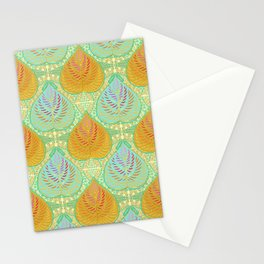 Feathered  Leaves - Aqua Stationery Cards