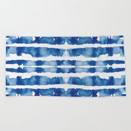 Shibori Vivid Indigo Blue and White Beach Towel