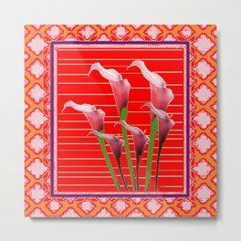 RED Orange Calla Lily Art Metal Print