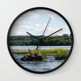 White Crane Wall Clock