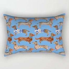 Dachshunds – Cornflower Blue Palette Rectangular Pillow