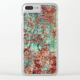 Abstract Rust on Turquoise Painting Clear iPhone Case