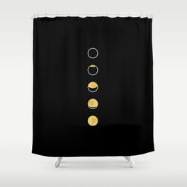 Moon Phase, Lunar Cycle, Full Moon, Moon Cycle, Black and White, Faux Gold Foil, Modern, Minimalist Shower Curtain
