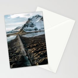 Icelandic black sand beach and mountain road - landscape photography Stationery Cards