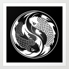 White and Black Yin Yang Koi Fish Art Print