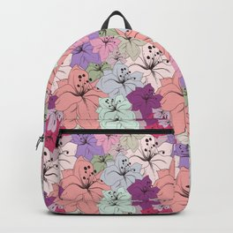 Abstract boho flowers, colorful floral design Backpack
