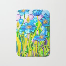 Blue Poppies 2 Bath Mat