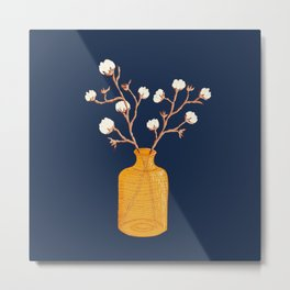 Still life - Cotton branches in a ochre vase Metal Print
