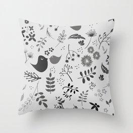 Monochrome Robins Medium Print Throw Pillow