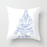 shiva Throw Pillows featuring SHIVA by Only Vector Store - Allan Rodrigo