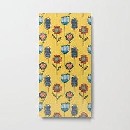 Geo Floral Mod Yellow Metal Print