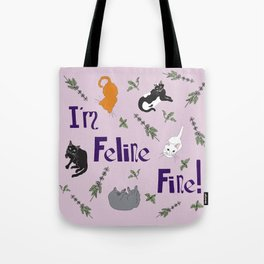 Kitty Cats and Catnip Illustrated Typography Print in Lavender Purple Tote Bag