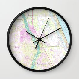 Vintage Map of Port St Lucie Florida (1948) Wall Clock