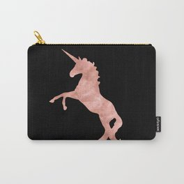 Unicorn Pink Rose Gold Black Carry-All Pouch
