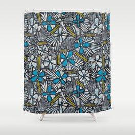 Asha Floral - Blue Shower Curtain